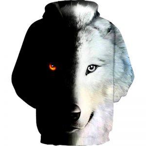 Arrière Sweat Loup Noir et Blanc
