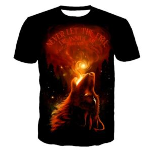 T-shirt loup flamme