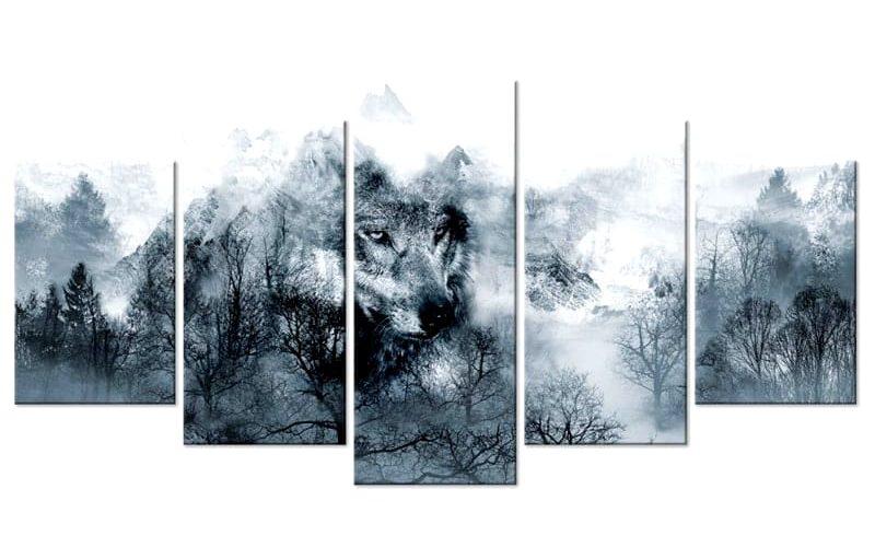 Tableau Loup Abstrait