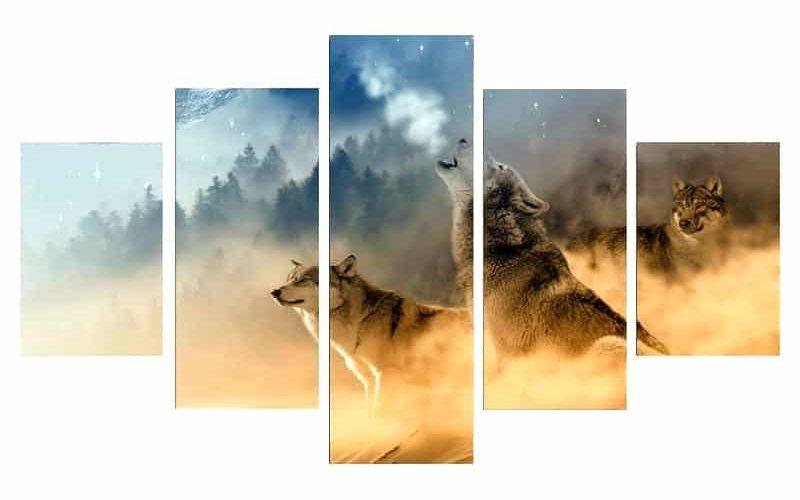 Tableau loup hurlant avec trois loup