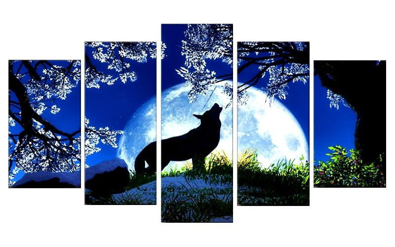 Tableau Loup Pleine Lune