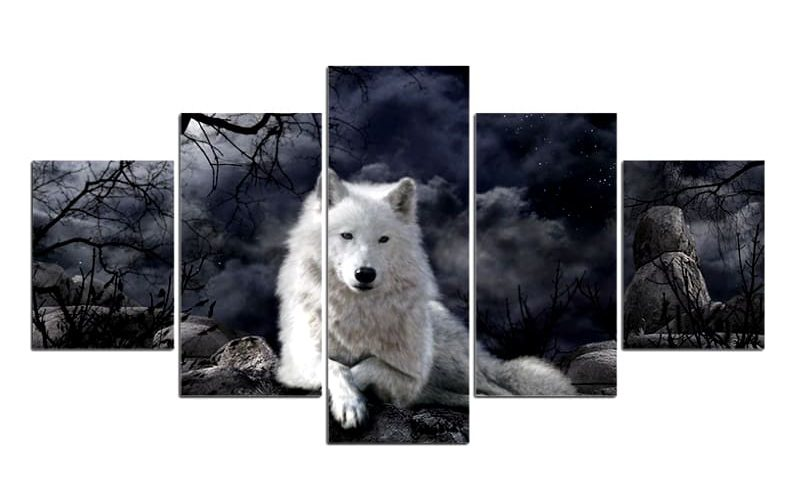 Tableau Loup Blanc Obscur
