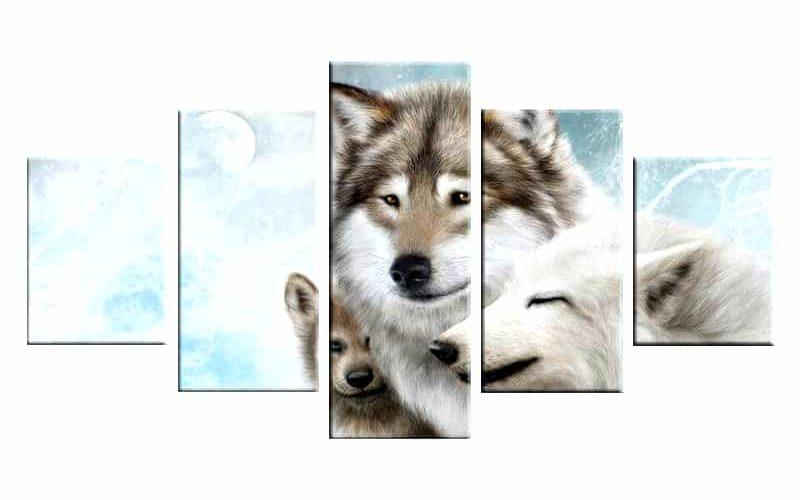Tableau Loup Famille