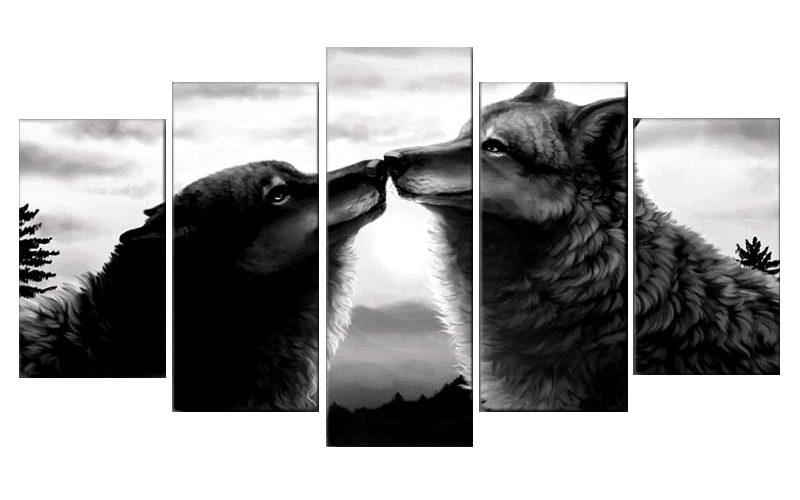Tableau Loup Amour
