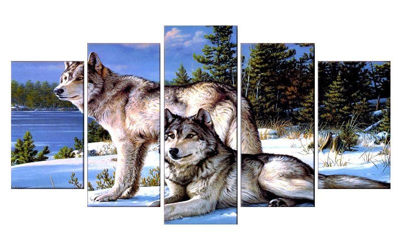 Tableau Loup Neige