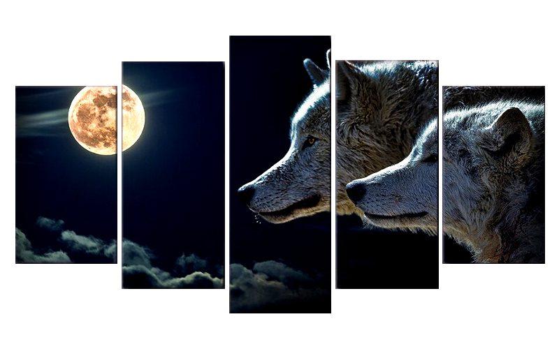Tableau Loup Nuit Lune
