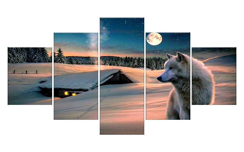 Tableau Loup Paysage Enneigé