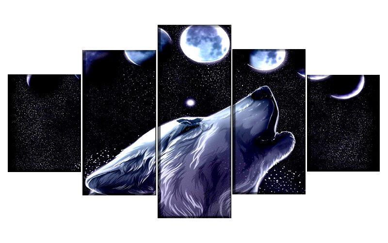 Tableau Loup Astre de la Nuit