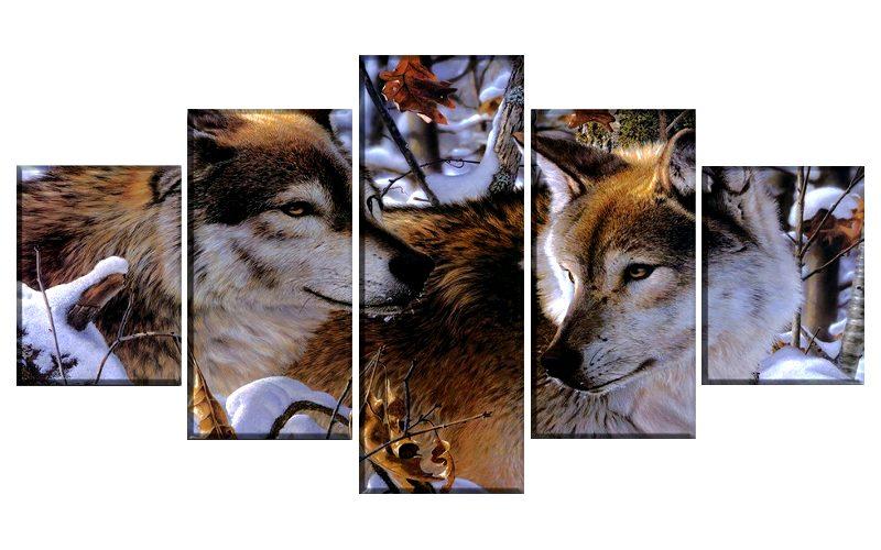 Tableau Loup Hiver