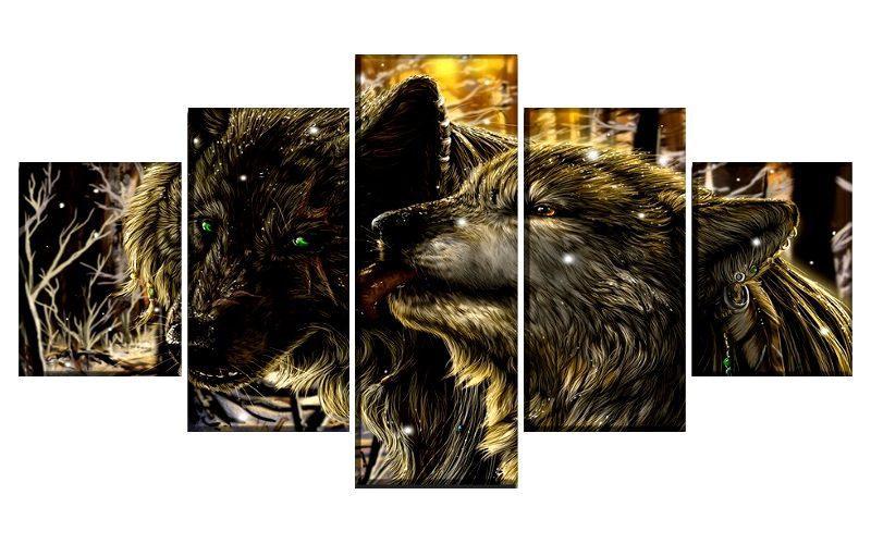 Tableau Loup Style Dessin