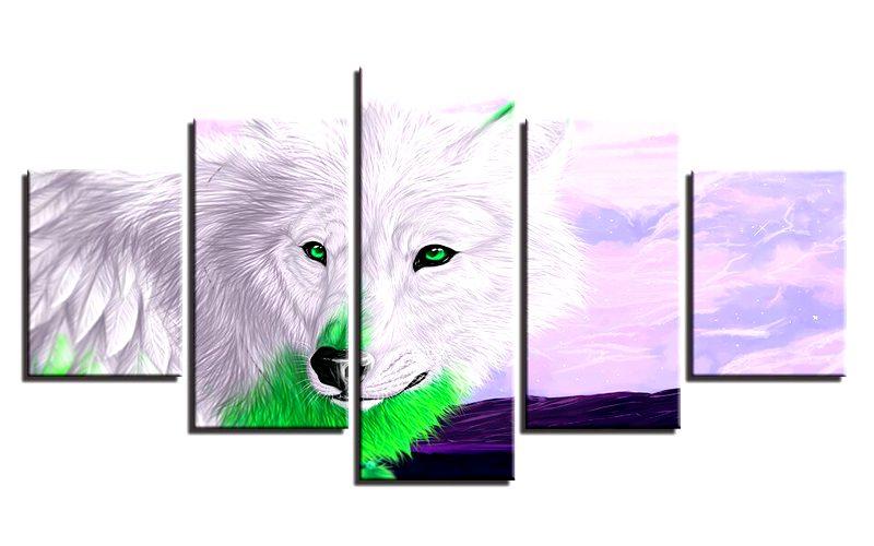 Tableau Loup Style Dessin Animé