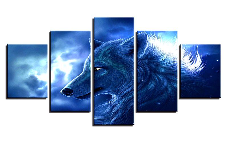 Tableau Loup Dans les Nuages